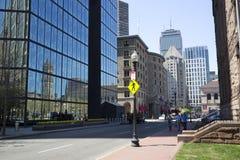 Boston Trinity Church reflecting on John Hancock tower in Copley Square Stock Photos