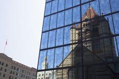 Boston Trinity Church reflecting on John Hancock tower in Copley Square Stock Photo