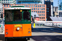Boston trolley at Congress Street bridge Royalty Free Stock Images