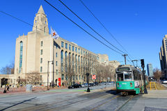 Boston universitet och grön linje för tunnelbana, MOR, USA arkivfoto