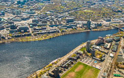 Boston University, Charles River, and MIT aerial Royalty Free Stock Photo
