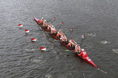 Boston University races in the Head of Charles Regatta Women's Championship Eights Stock Photography