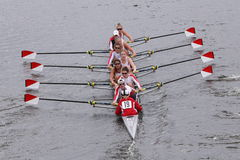 Boston University Women's Crew races in the Head of Charles Regatta Women's Master Eights Stock Image