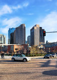 Financial District seen from North End Park Boston of America. Boston, USA - April 29, 2015: Financial District seen from North End Park at Cross Street at stock images