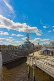 USS Cassin Young ship moored at the pier in Boston. Boston, USA - April 28, 2015: USS Cassin Young ship moored at the pier in the Boston Navy Yard in Boston Royalty Free Stock Photo