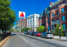 Boston, USA. Boston, Massachusetts - June of 2016, USA: Boston Marathon, view of Kenmore Square and big Citgo logo on rooftop of building royalty free stock images