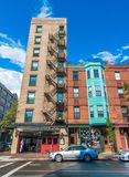 Boston USA: Gamla byggnader i tillbaka fjärd Royaltyfri Foto