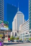 Boston USA: Gatan av Boston, sikt av John Hancock Tower, Berkeley Building Arkivfoton