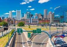 Boston USA: Boston horisont i solig sommardag Arkivfoto