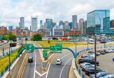 Boston USA: Boston horisont i sommardag Arkivbild