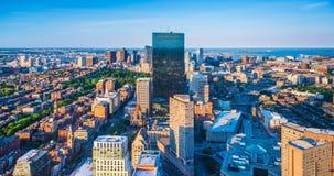 Boston USA: Boston horisont på aftonen Arkivfoton
