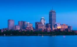 Boston USA: Boston horisont på aftonen Royaltyfria Foton
