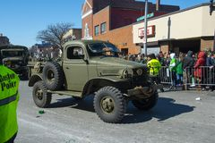 Military Vehicle in Saint Patrick`s Day parade Boston, USA royalty free stock image