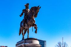 Boston, USA- March 01, 2019: The George Washington Statue in Boston Public Garden is one of the most attractive monuments in the. City, was sculpted by artist royalty free stock image