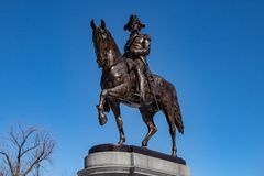 Boston, USA- March 01, 2019: The George Washington Statue in Boston Public Garden is one of the most attractive monuments in the. City, was sculpted by artist royalty free stock images