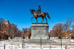 Boston, USA- March 01, 2019: The George Washington Statue in Boston Public Garden is one of the most attractive monuments in the. City, was sculpted by artist royalty free stock photo