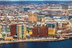 Boston, USA- March 08, 2019: panorama, a view from the air on the snowy Boston streets, Massachusetts, United States stock photography