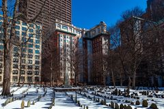 Boston, USA- March 01, 2019: picturesque Boston old graveyard with historic tombstones from the time of revolution and royalty free stock photography