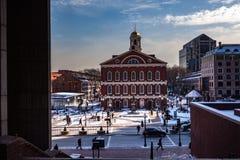 Boston USA marscherar 01, 2019: Det Bostonian samhället underhåller ett arkiv och ett museum inom det gamla tillståndshuset royaltyfri foto