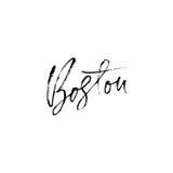 Boston, usa Miasto typografii literowania projekt Ręka rysujący nowożytny suszy szczotkarską kaligrafię button ręce s push odizol Fotografia Royalty Free