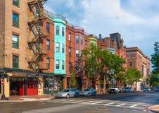 Boston USA: Sikt av den typiska gatan av Boston Royaltyfria Foton