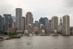 Boston skyline and cityscape from the harbor Stock Photos