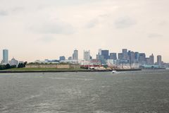 Boston skyline and cityscape from the harbor Stock Photography