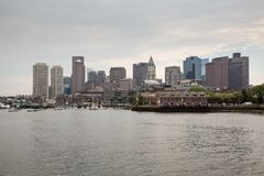 Boston skyline and cityscape from the harbor Royalty Free Stock Photo