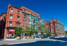 Boston, USA: Street view with old brick houses in Back Bay Royalty Free Stock Image