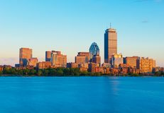 Boston, USA: View from Cambridge on Boston downtown during the sunset. Boston, MA - June 2016, USA: View from Cambridge on Boston downtown during the sunset Royalty Free Stock Photo