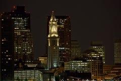Boston van de binnenstad bij nacht Stock Afbeelding