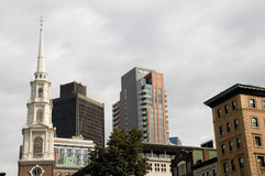 Boston with Variety of Buildings. With Overcast Sky Royalty Free Stock Photo