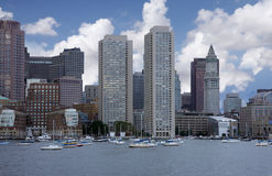 Boston view. View of Boston skyline and Boston port , image was taken from the sea Royalty Free Stock Photography
