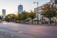 Boston. View of Boston in Massachusetts, USA at sunrise at Kenmore Square by the Fenway Park Stadium Royalty Free Stock Images