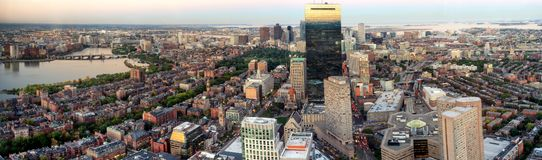 Boston view from top of Prudential Tower, USA. Boston, MA, USA - October 6, 2016: Boston panoramic top view during sunset, Massachusetts, USA stock photo