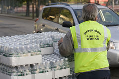 Boston Water Ban 2010. Watertown, MA Watertown Department of Works hands out free cases of water to residents after 2 days of a city wide water boil order Stock Photos