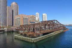Boston Waterfront. Along the Boston, MA waterfront with an old swing bridge Royalty Free Stock Image