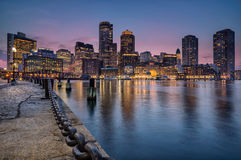 Boston waterfront  and harbour. Looking across the harbour on Bostons Waterfront Royalty Free Stock Photography
