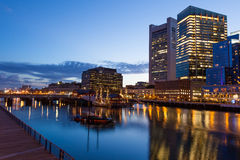 Boston waterfront by night Stock Photo