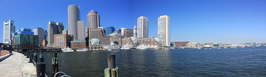 Boston Waterfront Panorama. Boston Waterfront skyline in a panorama Stock Images