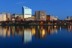 Boston West End skyline at night, USA Stock Image