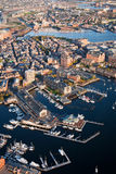 Boston Wharf. Aerial morning view of Boston along Wharf area, Boston, MA Royalty Free Stock Image