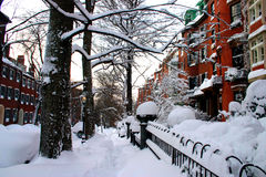Boston Winter. Snow scene at Beacon Hill, boston after blizzard Royalty Free Stock Image