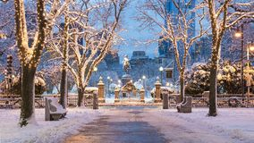 Boston in the Winter. The Boston Commons in the winter with Christmas Lights in Boston, Massachusetts, USA royalty free stock photo