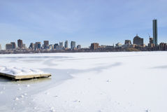 Boston Winter Skyline. Icy charles river overlooking boston skyline in the winter Stock Photo