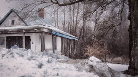 Boston wintery scene in Massachusetts.  Abandoned house. Stock Photo