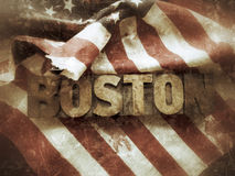 Boston word with USA flag grunge. The word 'Boston' on a torn and bloody USA flag Royalty Free Stock Images