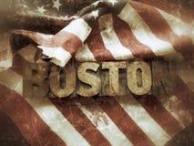 Boston-Wort mit USA-Flaggenschmutz Stockfotografie