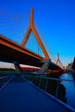 Boston Zakim bridge sunset in Massachusetts Royalty Free Stock Image