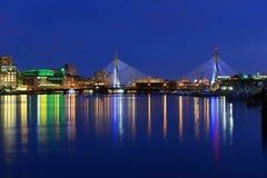 Boston Zakim Bunker Hill Bridge and TD Garden Royalty Free Stock Photo